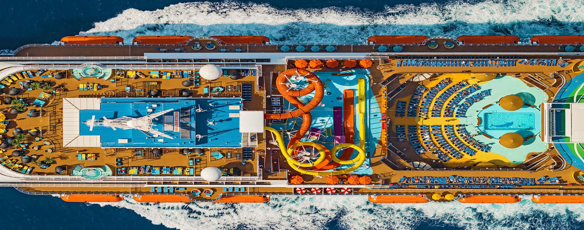 Cruise ship overhead view